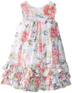 Laura Ashley London Little Girls' Butterfly Garden Dress, Multi, 6X