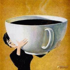 Vignetta divertente Buongiorno a tutti con un caffè