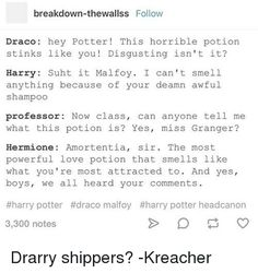 I can imagine the rest of the class snickering while Draco and Harry just blush uncontrollably