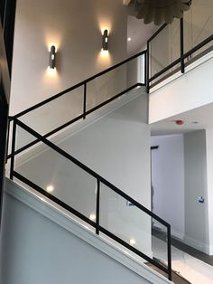 📣 97 Most Popular Modern House Stairs Design Models 61 - Loycehpo Staircase Lighting Ideas, Staircase Railing Design, Modern Stair Railing, Wrought Iron Stair Railing, Modern Stairs, Glass Stair Railing, Glass Handrail, Glass Stairs Design, Home Stairs Design