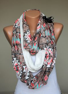 tribal+infinity+scarf+by+twobirdsgirl+on+Etsy,+$19.90