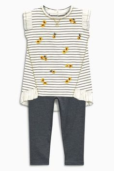 Buy Grey /Ecru Stripe Tunic And Leggings Set (3mths-6yrs) from the Next UK online shop