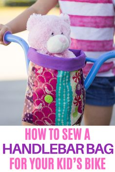 An easy tutorial for a handlebar bag to add to your child's bike! This is a fun and easy sewing project that your kids will love. Diy Sewing Projects, Sewing Projects For Beginners, Sewing Hacks, Sewing Crafts, Sewing Ideas, Sewing Tips, Sewing Tutorials, Craft Projects, Sewing For Kids