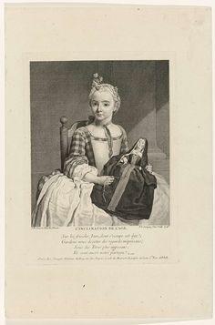 Meisje met pop gekleed als non ('L'inclination de l'age'), Pierre Louis Surugue, Louis Surugue, Pesselier, 1743