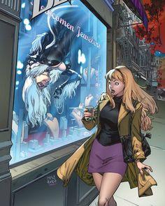 Black Cat Variant by Carlos Gomezea Spiderman Anime, Spiderman Black Cat, Spiderman Vs Superman, Black Cat Marvel, Marvel Rpg, Marvel Comic Universe, Black Cat Comics, Black Cat Art, Midtown Comics