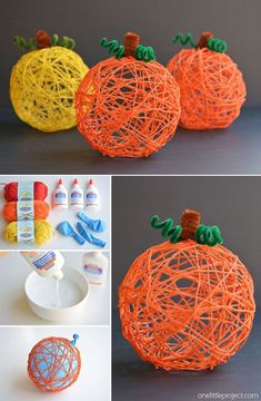 30 Quick and Easy DIY Halloween Crafts You can Try in 2019 Yarn Pumpkin Halloween Arts And Crafts, Halloween Crafts For Toddlers, Halloween Activities, Diy Halloween Decorations, Halloween Diy, Halloween Costumes, Diy Costumes, Christmas Decorations, Diy Projects For Halloween