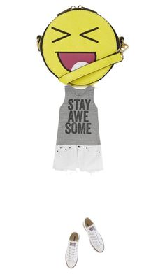 """""""677. """"Stay Awesome"""" Graphic Tank, Cutoffs, Vans, and Emoji Bag."""" by kohlanndesigns ❤ liked on Polyvore featuring Converse, Topshop, rag & bone, Billabong, women's clothing, women's fashion, women, female, woman and misses"""
