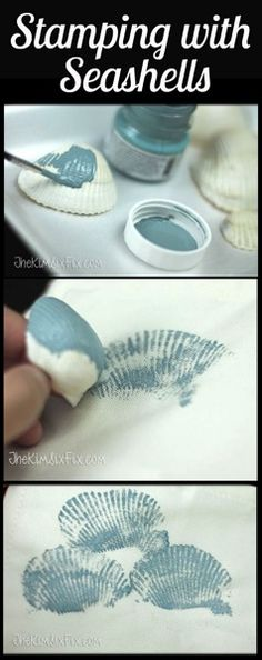 I love this. Never thought of doing this. Great idea. Seashell Stamped Pillow (Tutorial) via www.TheKimSixFix.com