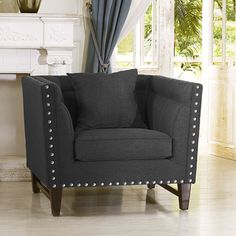 Baxton Studio Anastasia Grey Linen Modern Accent Chair By Baxton Studio |  Upholstery, Great Deals And Shopping