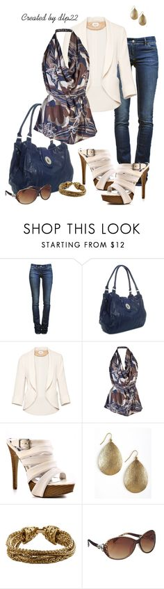 """Navy Blue Print and Cream"" by dlp22 ❤ liked on Polyvore featuring Étoile Isabel Marant, Barratts, Wilfred, Rachel Zoe, JustFab and Panacea"
