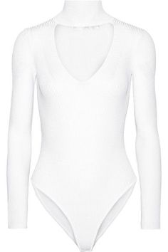 Cushnie et Ochs - Cutout Ribbed Stretch-knit Bodysuit - White - x small