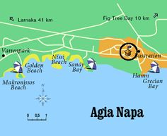 Map of Ayia Napa Beaches