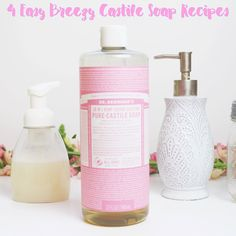 Easy DIY recipes using liquid Castile soap for hands, face, and body! Includes foaming soap recipes as well with Young Living essential oils!