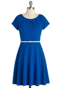 Skilled and Shining Dress. After finishing your marketing pitch, youre simply glowing  skipping back to your desk in this cobalt belted dress! #blueNaN