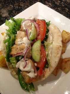 Chicken souvlaki on a pita homemade by creativewayz Chicken Souvlaki, Tacos, Mexican, Foods, Homemade, Ethnic Recipes, Food Food, Food Items, Home Made