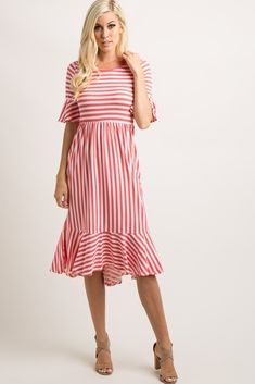 Coral Striped Flounce Trim Hi-Low Midi Dress A striped midi dress featuring a flounce trim on 3/4 sleeves and on hi-low hemline, a cinched elastic waistline and a rounded neckline. This style was created to be worn before, during, and after pregnancy.