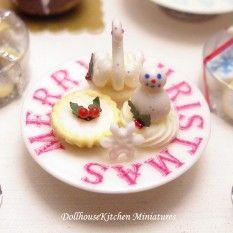 Dollhouse Miniature Food Christmas  Fondant Cakes