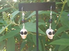 FOR TODAY ONLY- take advantage of my double sale!  Use coupon code JULY30 for 30% off plus FREE shipping to US and Canada!    White Skull and Black Roses Dangle Earrings by EBLDesigns on Etsy, $15.00