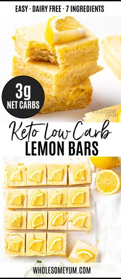 Keto Low Carb Lemon Bars Recipe - This low carb lemon bars recipe is perfect for. - * Keto Low Carb Recipes from Wholesome Yum* - Dessert Low Carb Sweets, Low Carb Desserts, Low Carb Recipes, Real Food Recipes, Low Carb Cakes, Lemon Desserts, Protein Recipes, Protein Bars, Greek Recipes