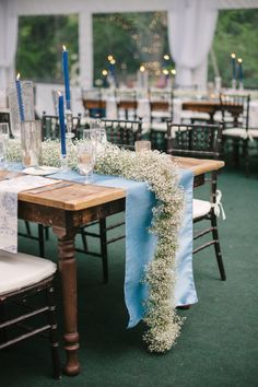 Baby's breath lined tables: http://www.stylemepretty.com/florida-weddings/miami-fl/2015/04/21/elegant-toile-inspired-miami-garden-wedding/ | Photography: Katie Lopez - http://katielopezphotography.com/