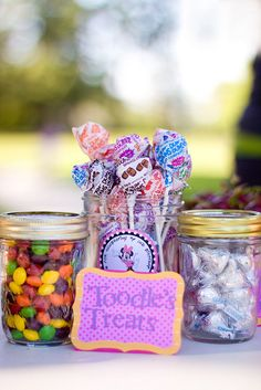 candy in big wide mouth canning jars with clear tongs to get it out!