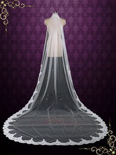 One Layer Cathedral Wedding Veil with Lace from Midway | VG1081