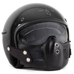 Harisson Corsair helmet in gloss black Cafe Racer Parts, Predator Helmet, Cafe Racer Helmet, Motorcycle Helmets, Scrambler, Leather, Choppers, Free Uk, Black