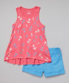 Love this Pink Anchor Hi-Low Top & Blue Twill Shorts - Toddler & Girls by Nautica on #zulily! #zulilyfinds