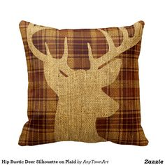 Hip Rustic Deer Silhouette on Plaid Pillow