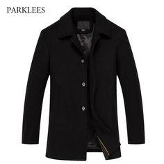 Luxury Wool Coat Men Winter Mens Cashmere Coat Brand Slim Fit Wool Blends Pea Coat Casual Single Breasted Trench Men Coat