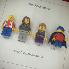 Lego mini figures customised FAMILY personalised by ArtsItsyBitsy