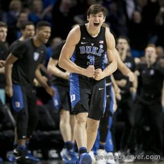 Duke's Grayson Allen (3) reacts after sinking a three point basket in the second half against North Carolina during the ACC Tournament semi-final game on Friday, March 10, 2017 at the Barclays Center in Brooklyn, N.Y.