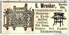 Original-Werbung/ Anzeige 1897 - BAMBUS - UND KORBMÖBEL WRONKER - BERLIN - ca. 45 x 25 mm