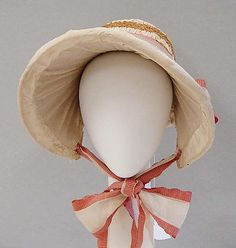 Straw and silk bonnet, probably American, ca. 1818.