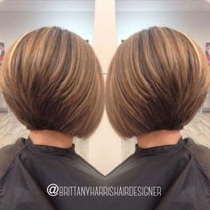 The Full Stack: 50 Hottest Stacked Haircuts Stacked Bob With Cinnamon Brown Balayage Short Stacked Bob Haircuts, Bob Hairstyles For Fine Hair, Short Cuts, Pixie Haircuts, Layered Haircuts, Wedding Hairstyles, Braided Hairstyles, Short Stacked Bobs, 2015 Hairstyles