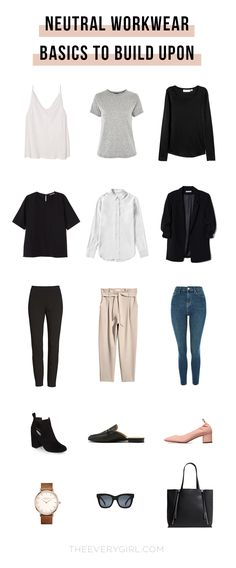 The Everygirl's Office-Ready Capsule Wardrobe Getting dressed for work can honestly be such a pain. As fun as it is to put outfits together, it can be daunting to make yourself look professional yet stylish every. Capsule Wardrobe Work, New Wardrobe, Office Wardrobe, Office Uniform, Work Wardrobe Essentials, Wardrobe Basics, Office Outfit Summer, Minimalist Wardrobe Essentials, Work Wear Office