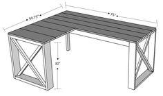 L Shaped Double X Desk | HandmadeHaven | DIY Tutorials