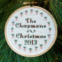 Custom Christmas Hoop Art or Ornament Cross by bythelindentree