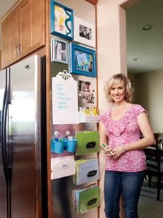 Kitchen Catch-All. Create a family command center. See how one mom turned an overlooked kitchen area into a multi-purpose hub. Command Center Kitchen, Family Command Center, Command Centers, School Organization, Kitchen Organization, Organization Hacks, Organization Station, Organizing Ideas, Ideas Hogar