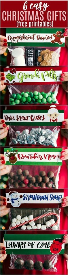 EASY CHRISTMAS GIFTS AND FREE PRINTABLES | 6 of the easiest Christmas gifts ever! These candies/treats are put in a snack-size ziplock bag and you can staple on the FREE printable bag toppers!