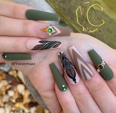 The Best Nail Trends for Cute Fall Manicure Stunning Matte Coffin Shaped Olive Green Fall Nails Design - Nail Designs Nagellack Design, Nagellack Trends, Pretty Nail Colors, Fall Nail Colors, Coffin Nails Matte, Stiletto Nails, Acrylic Nails, Oval Nails, Shellac Nails
