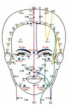 Affiche Acupuncture-visage-face acupoints chart-Cartel acupuntura-Akupunktur
