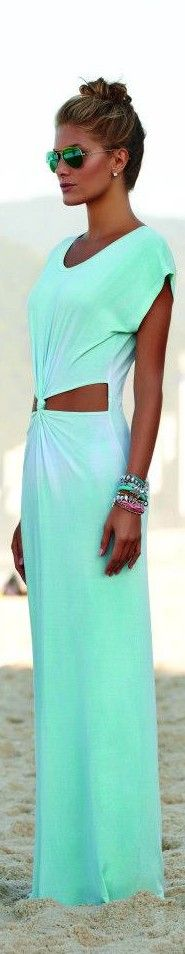 summer uniform - maxi dress, layered bead bracelets, sunnies + top knot