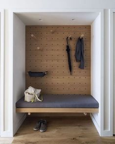 Storage Room In the foyer, the designers turned a closet into a valet area. The … Storage Room In the foyer, the designers turned a closet into a valet area. The bench is upholstered in fabric by Knoll. Interior Architecture, Interior And Exterior, Interior Design New York, Apartment Entrance, York Apartment, Apartment Design, Micro Apartment, Apartment Interior, Build A Closet