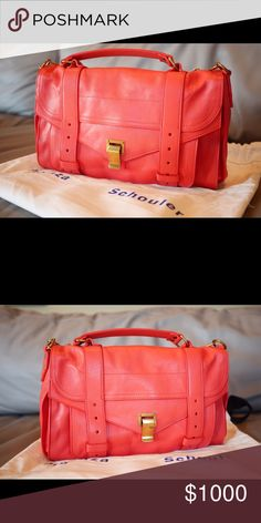 "100% NEW Proenza Schouler PS1 Medium Deep Coral 100% NEW Proenza Schouler PS1 Medium. New with tag, never been used. With dust bag. Gorgeous color and soft leather. Rare to find version. Absolutely perfect condition. Great bag for both work and leisure. Dimension:  Length: 12"" Width: 5.5"" Height: 8"" Strap length: 36.5"" / 19.5"" drop Proenza Schouler Bags Shoulder Bags"