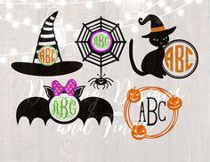 DIGITAL DOWNLOAD halloween svg witch svg monogram svg cut files silhouette cricut witch svg bat svg halloween shirt
