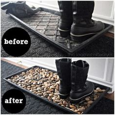 Easy to make DIY Mudroom Mat home decor with pebbles @istandarddesign