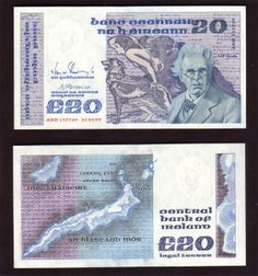 """1992, Ireland, B Series, £20 Banknote. William Butler Yeats (1865 –1939) was an Irish poet, dramatist, mystic and public figure, brother of the artist Jack Butler Yeats. He was the primary driving force behind the Irish Literary Revival, a co-founder of the Abbey Theatre and Irish Senator. He was awarded the Nobel Prize in Literature in 1923 for what the Nobel Committee described as """"his always inspired poetry, which in a highly artistic form gives expression to the spirit of a whole…"""