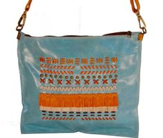 FREE SHIPPING  Aqua leather shoulder bag. Adjustable by Percibal, $150.00
