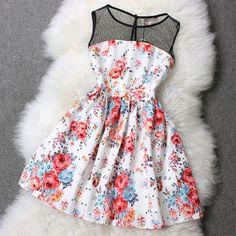 Floral Mesh Top Skater Dress